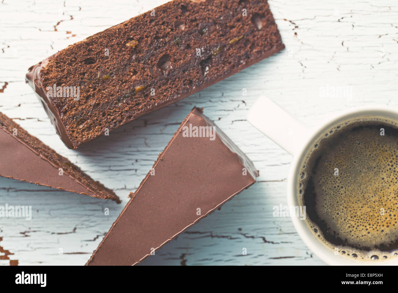 top view of sacher cake and coffee - Stock Image