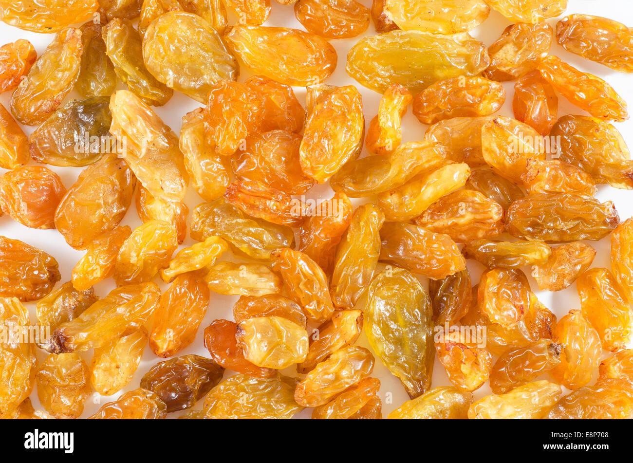 Dried raisins isolated on white background - Stock Image