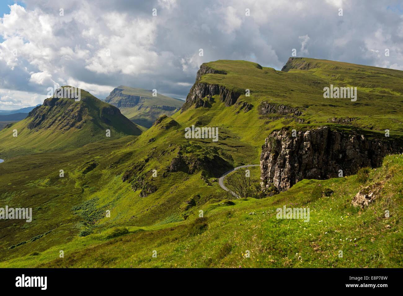 Quiraing mountain landscape of the Trotternish Ridge on the Isle of Skye, Inner Hebrides, Scotland, United Kingdom - Stock Image