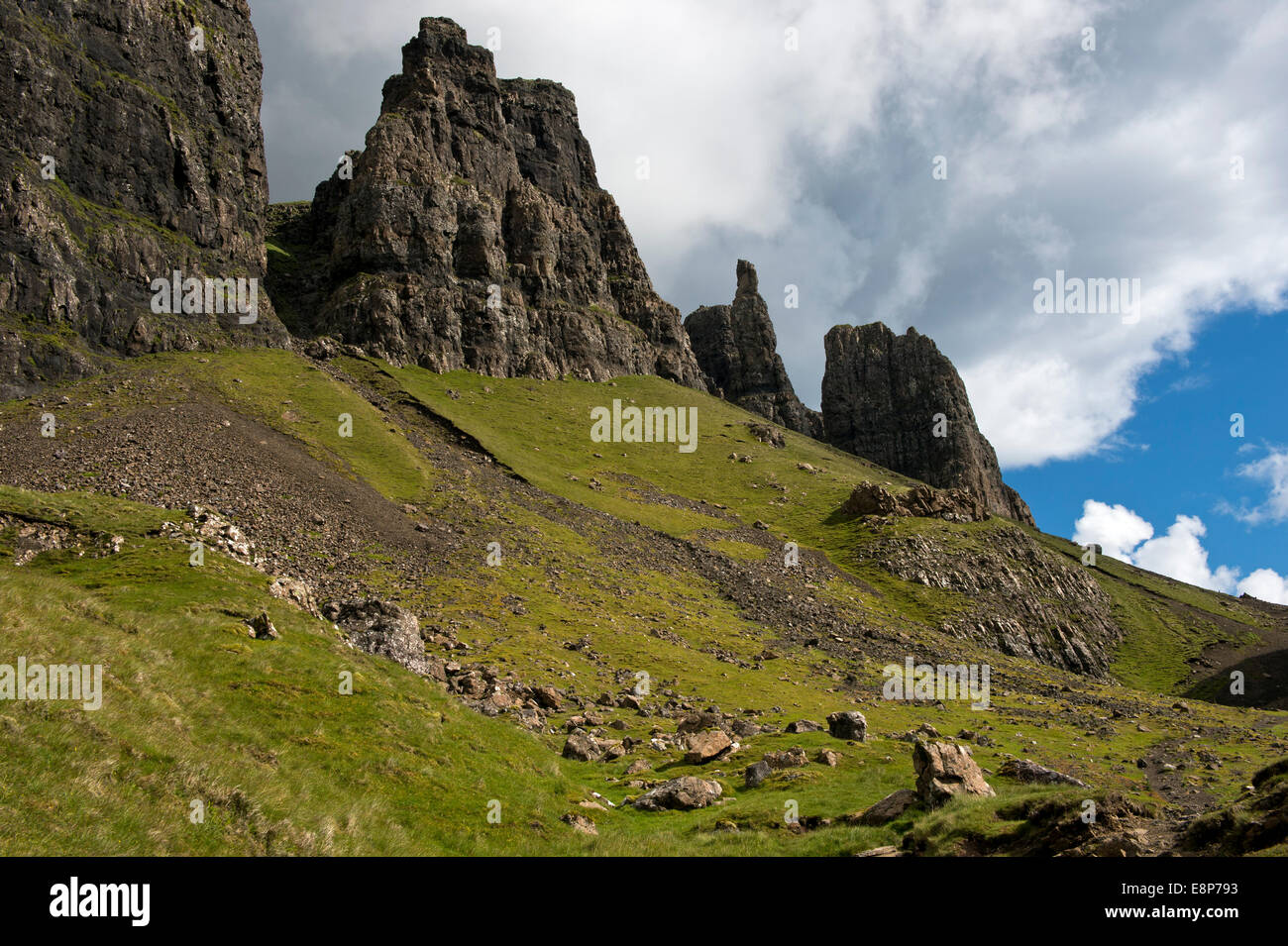 Quiraing mountain landscape of the Trotternish Ridge on the Isle of Skye. Inner Hebrides, Scotland, United Kingdom - Stock Image