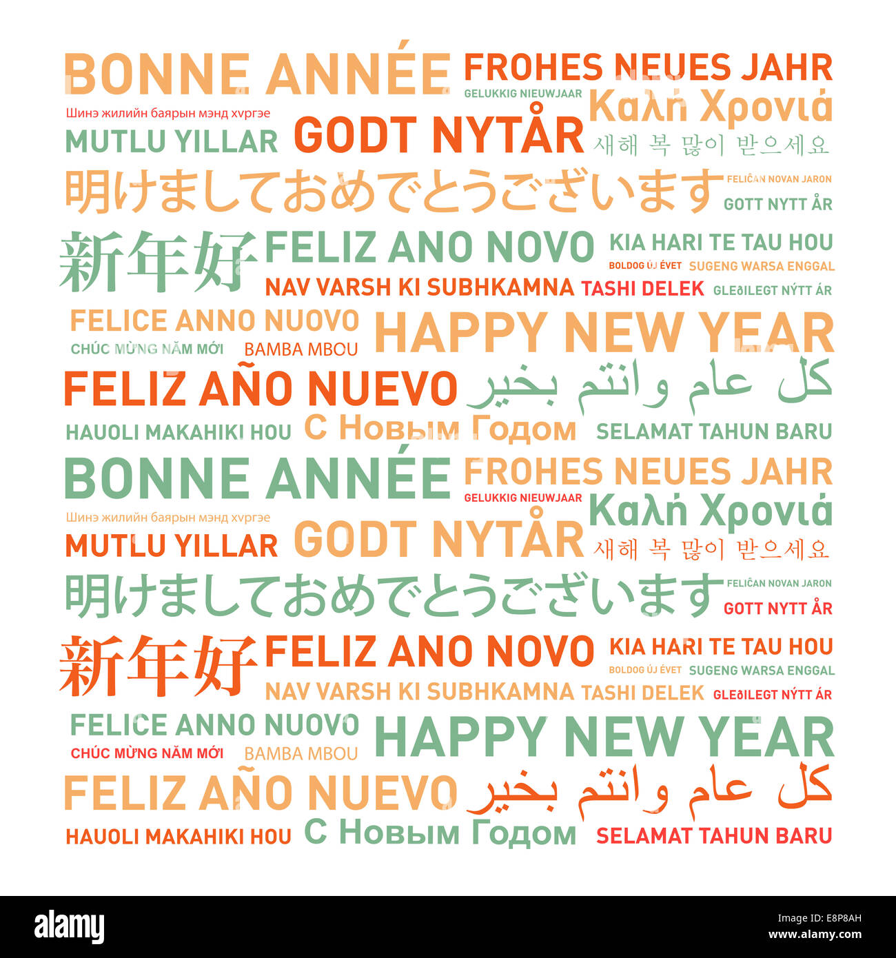 happy new year from the world different languages celebration card