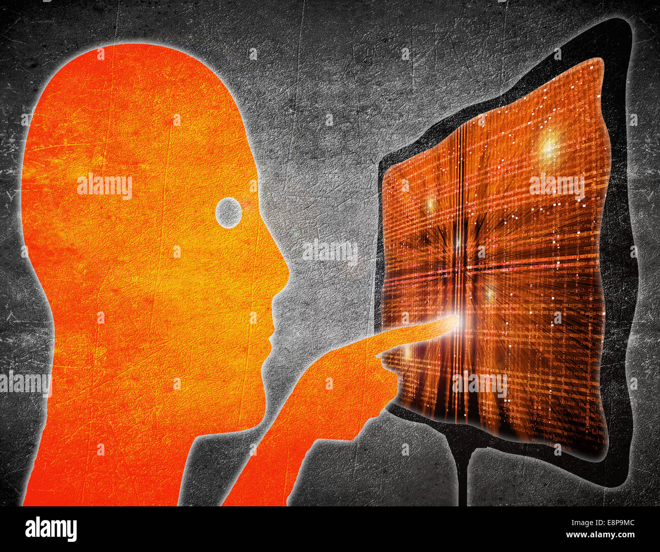 man touching touchscreen orange on black digital illustration - Stock Image
