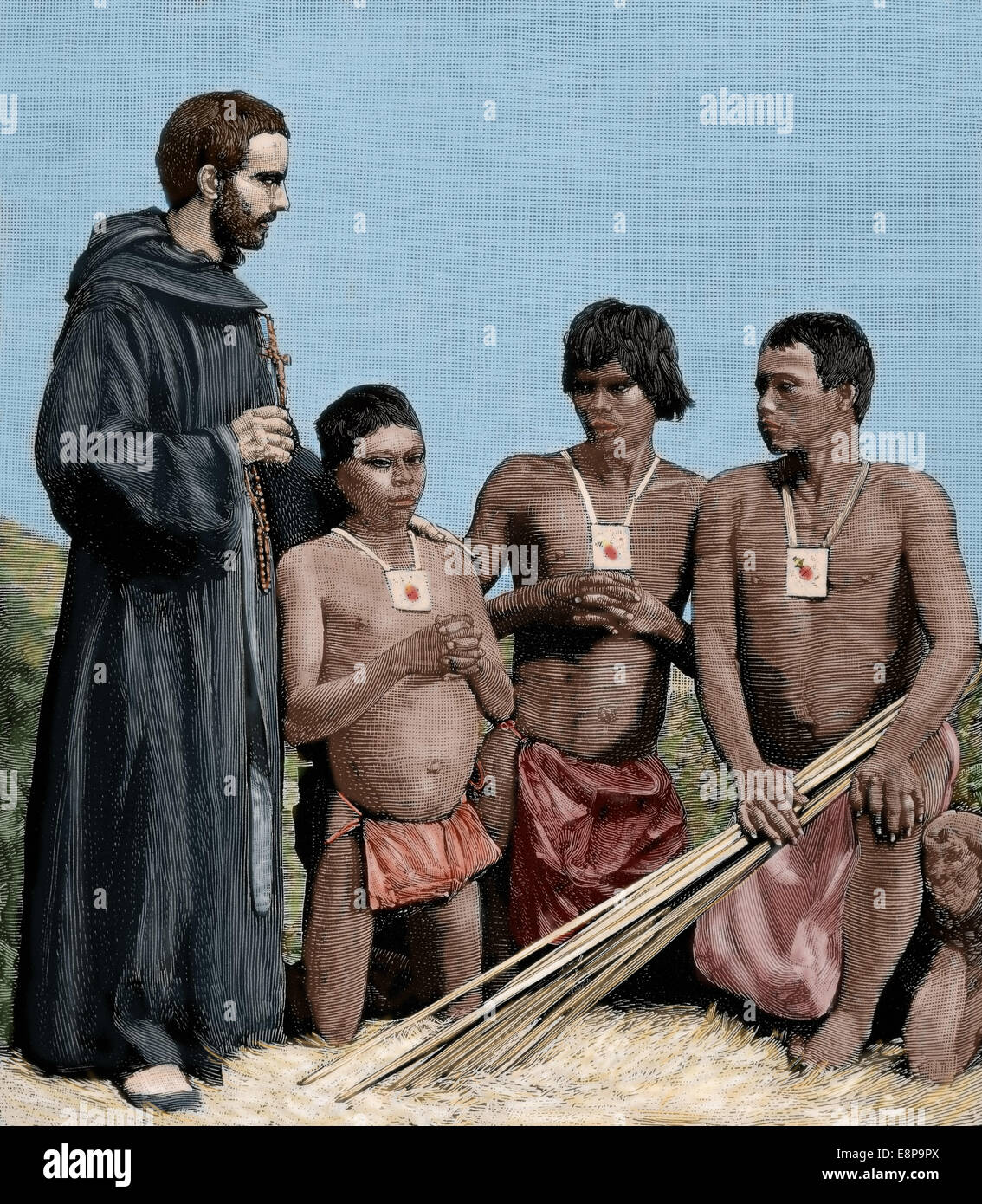 Colombia. Spanish Mission. Augustinian Recollect friar converting Guahibos Indians. Engraving, 1887. Colored. - Stock Image