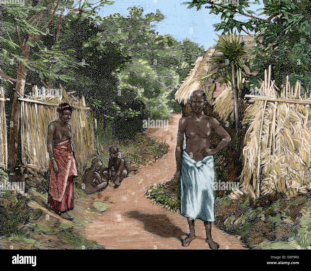 French imperialism. Africa. Dahomey. A street of Porto-Novo. Official residence of the French governor. Engraving. - Stock Image
