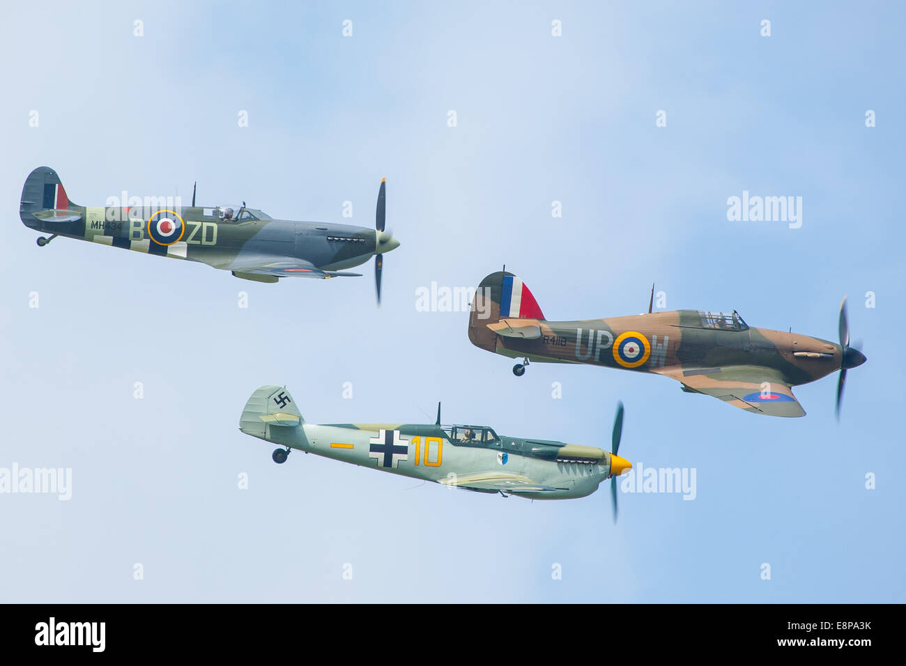 Spitfire, messerschmitt and Hurricane display at the Goodwood Revival 2014, West Sussex, UK - Stock Image