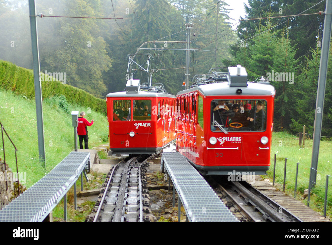 Switzerland. Shift station of the cog railway for mountain hiker. Steepest cog railwayof the world (48% gradient). - Stock Image