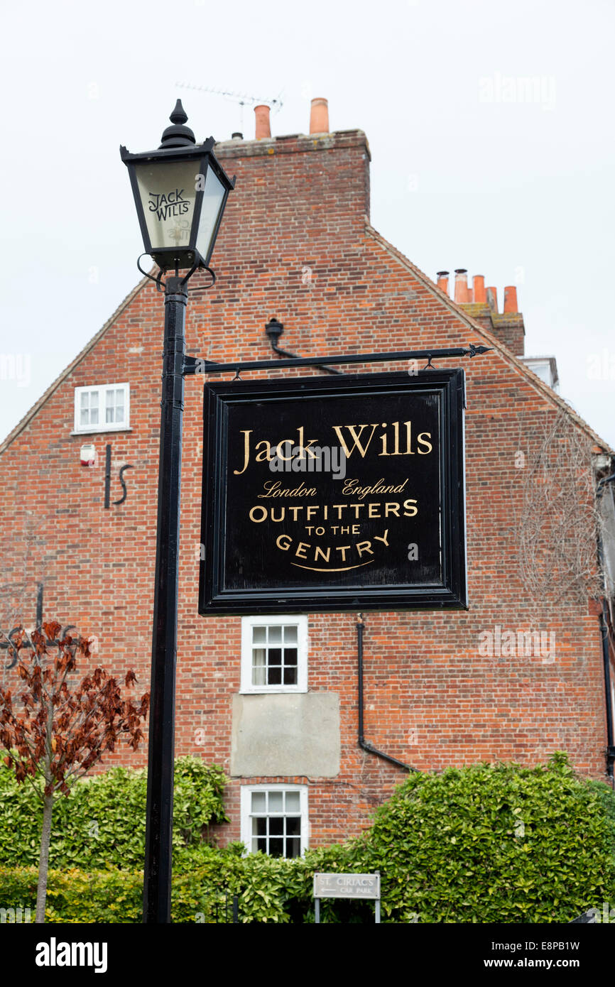 Sign for Jack Wills, outfitters to the gentry, Chichester, West Sussex - Stock Image
