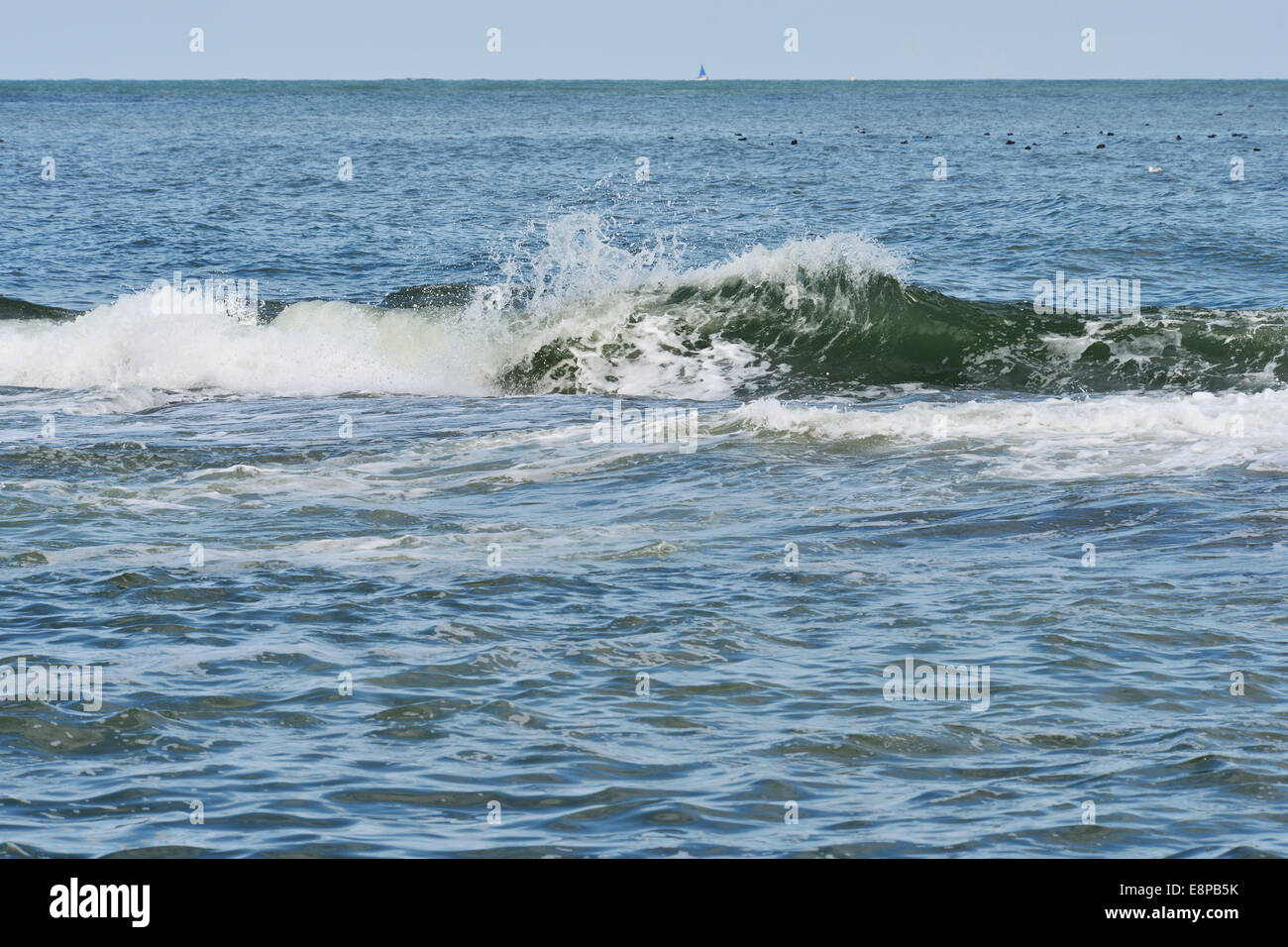 Wave at the west side of the island Wangerooge, 19 Augut 2013 Stock Photo
