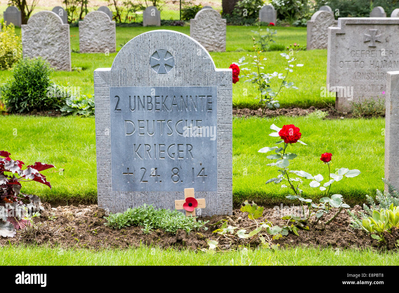 Military cemetery of Saint Symphorien, German and British war graves from the First World War, Battle of Mons - Stock Image