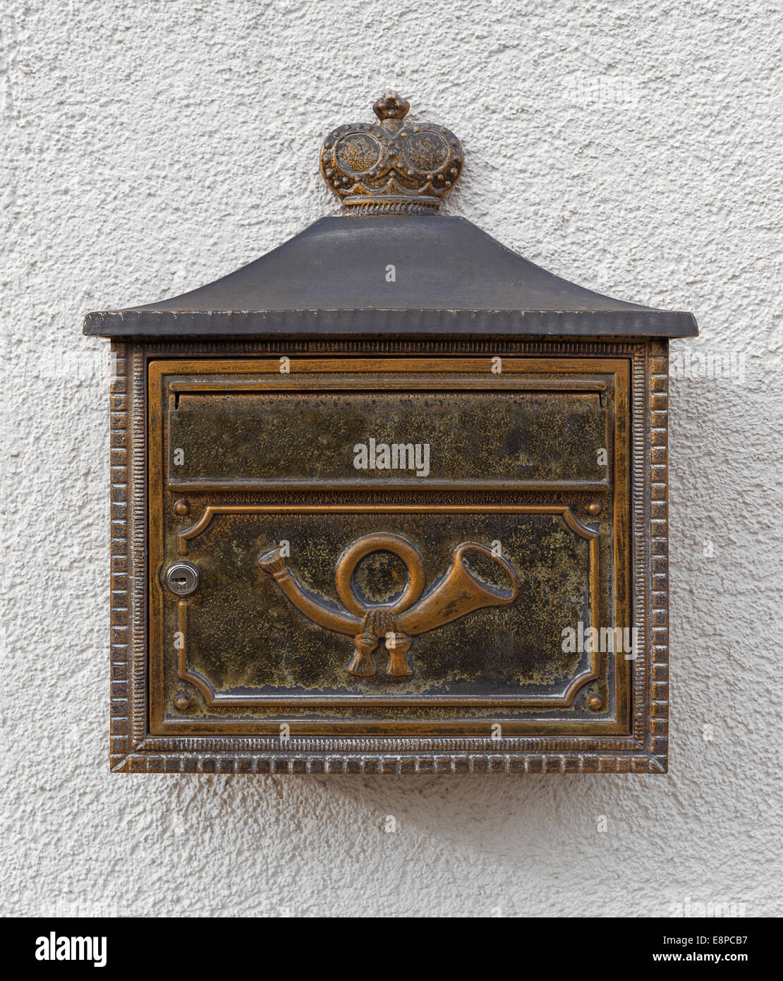 Mailbox with posthorn - Stock Image