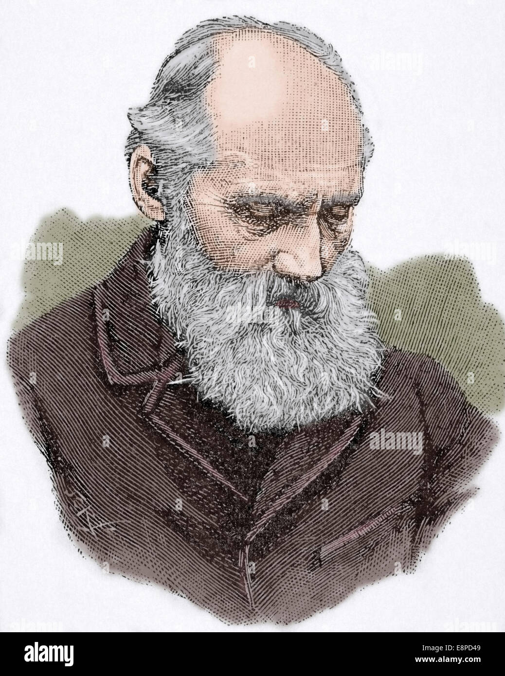 William Thomson, 1st Baron Kelvin (1824 -1907). British physicist and mathematician. Engraving. Colored. - Stock Image