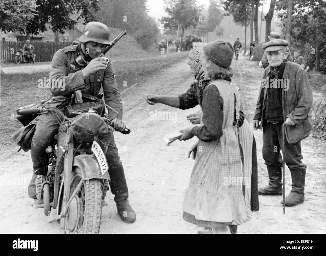 The illegal invasion of Poland by the German Wehrmacht on 01 September 1939,  the German Reich started World War Two. Nazi propaganda write on the back  of ...