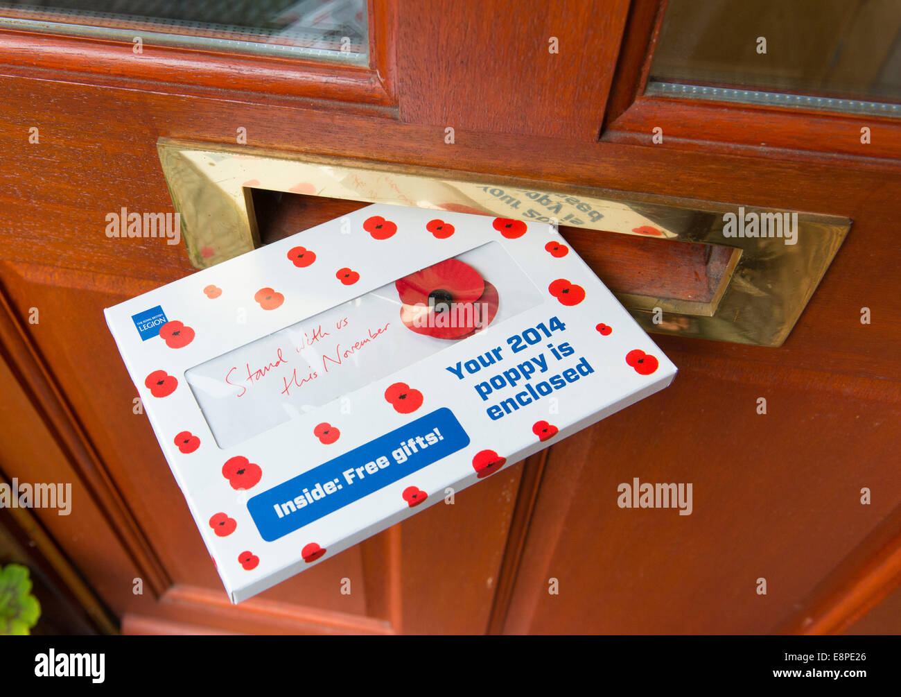 Postal campaign underway for this year's Royal British Legion annual Poppy Appeal: Monday October 13th 2014, - Stock Image
