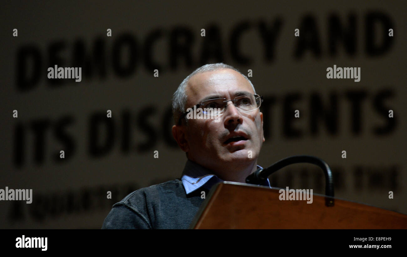 Prague, Czech Republic. 12th Oct, 2014. Russian former oil tycoon and later the most famous prisoner Mikhail Khodorkovsky - Stock Image