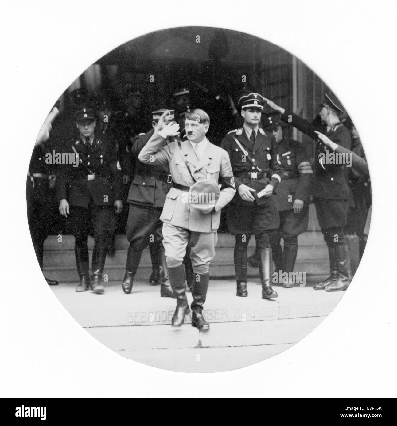 Nuremberg Rally 1933 in Nuremberg, Germany - Adolf Hitler and his entourage leave the party congress at Luitpold Stock Photo