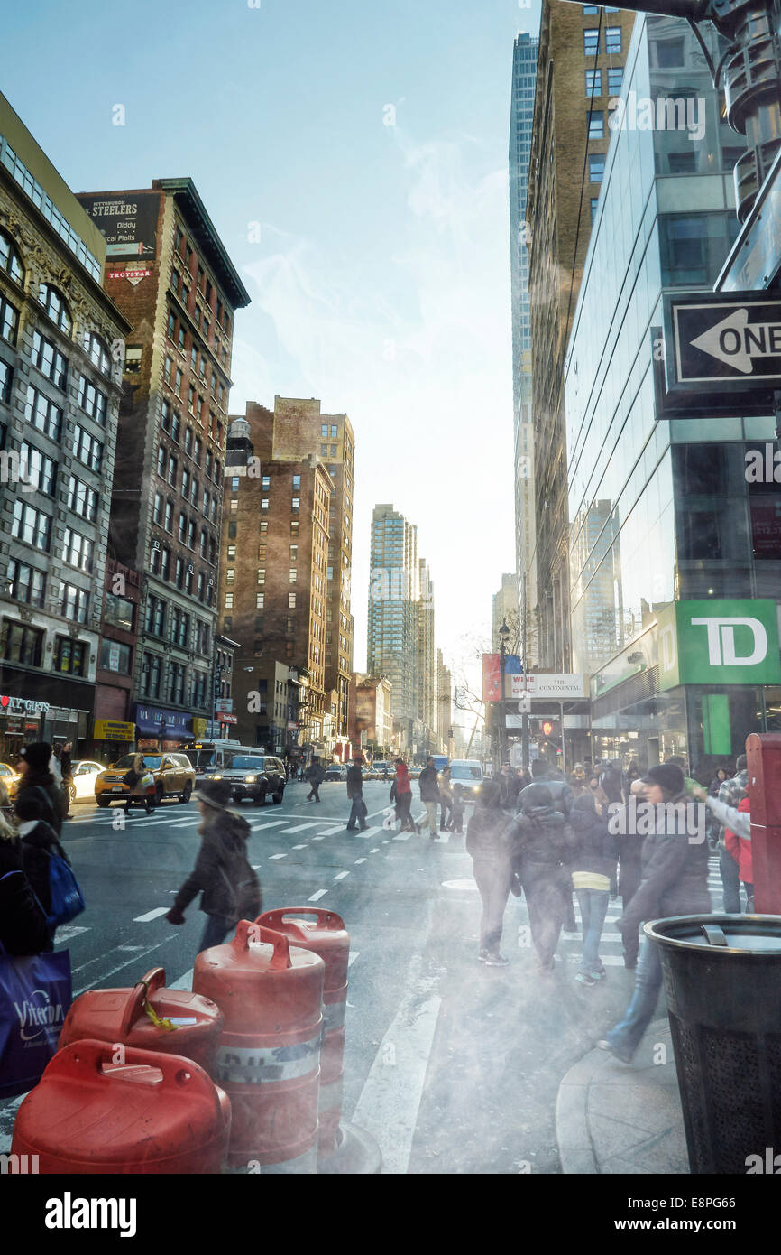 view of street in Manhattan - Stock Image