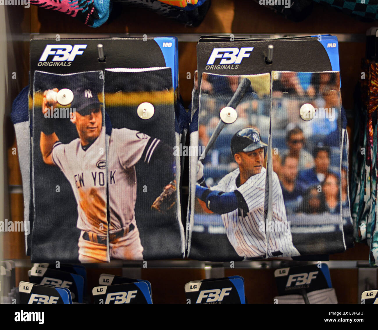 Socks with images of Derek Jeter for sale at Foot Locker store in Roosevelt Field in Garden City, Long Island, New - Stock Image
