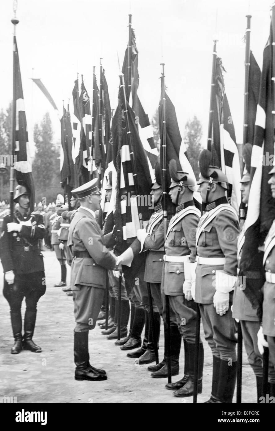 Nuremberg Rally 1937 in Nuremberg, Germany - Consecration of flags of the German police by Adolf Hitler on Deutschherrnwiese Stock Photo