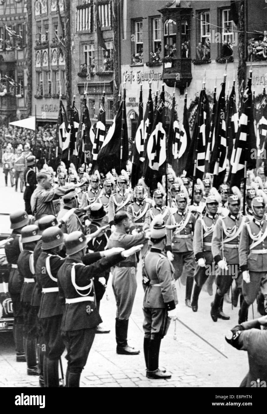 Nuremberg Rally in Nuremberg, Germany - Adolf Hitler stands in a car and takes the salute during a march-past of Stock Photo