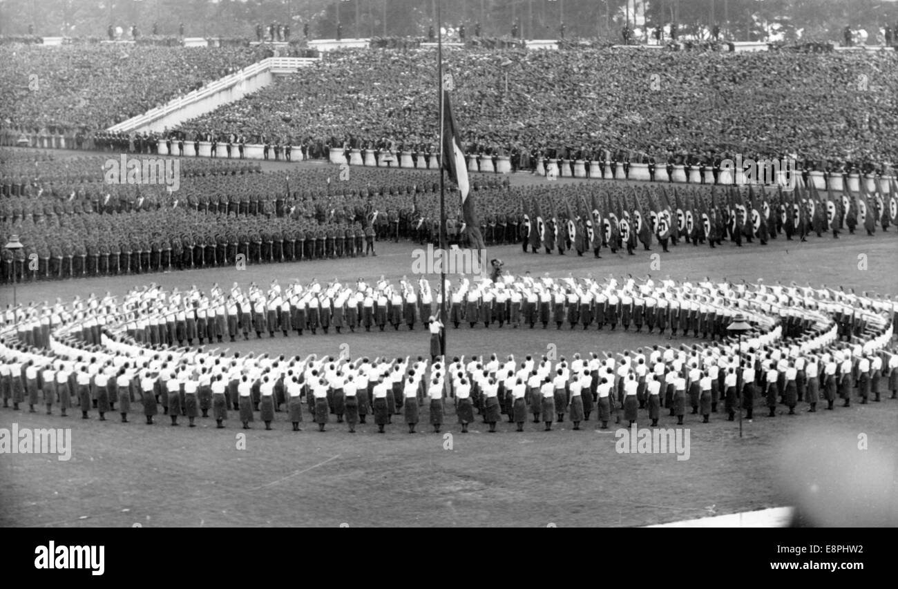 Nuremberg Rally 1938 in Nuremberg, Germany - Roll call of the Reich Labour Service (RAD) in front of the grandstand - Stock Image