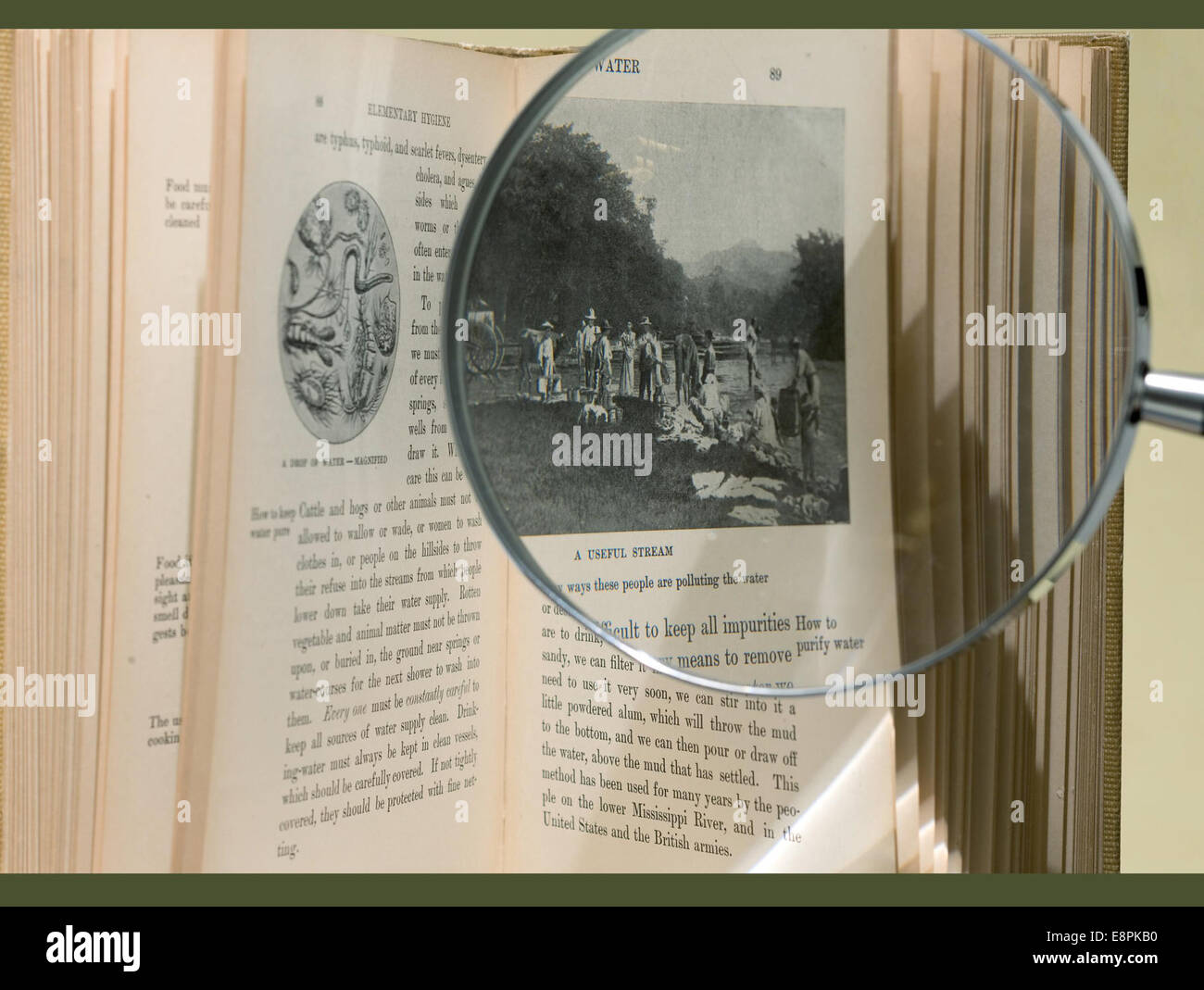 Appears In: Ames, Azel, 1845-1908. Elementary hygiene for the tropics Image Description: Image of an open book with - Stock Image