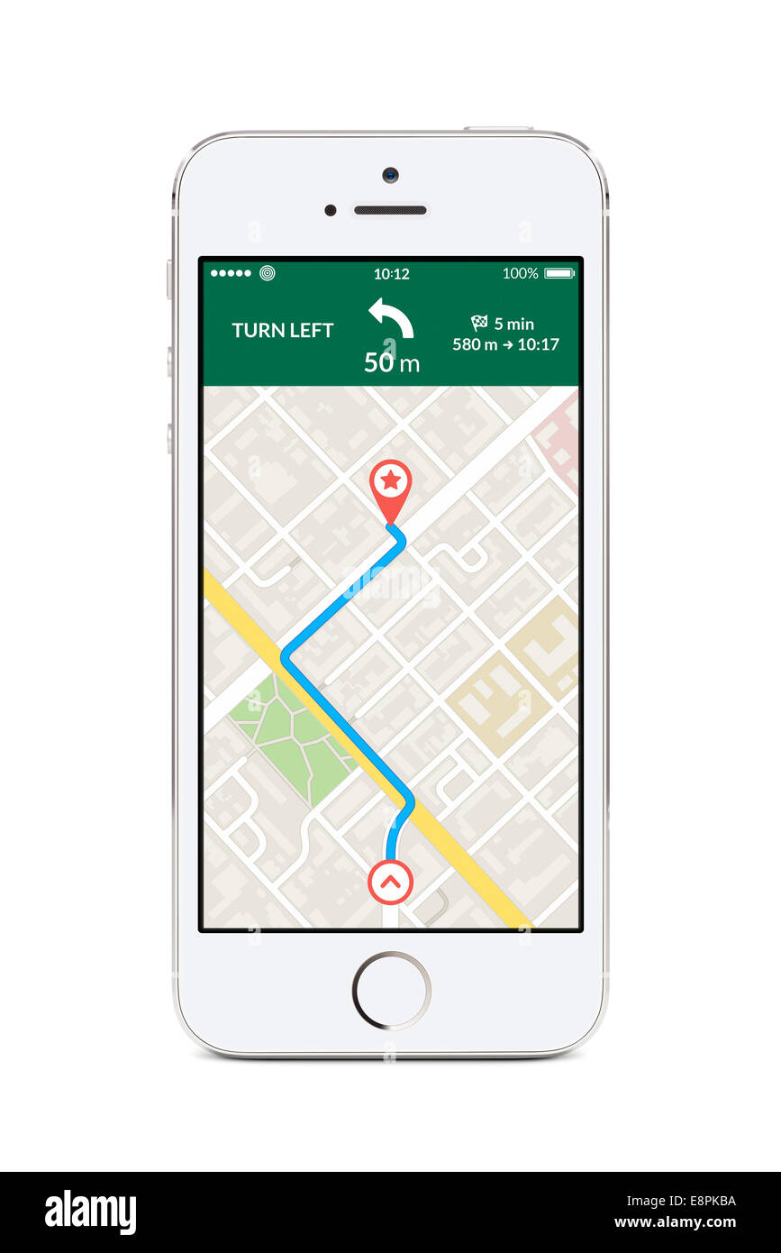 Directly front view of white smartphone with map gps navigation app with planned route on the screen isolated on - Stock Image