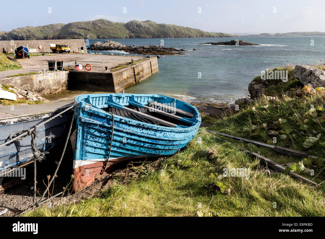 Fishing Boats and Pier at the Village of Bhaltos (Valtos) Isle of Lewis Hebrides Scotland UK - Stock Image