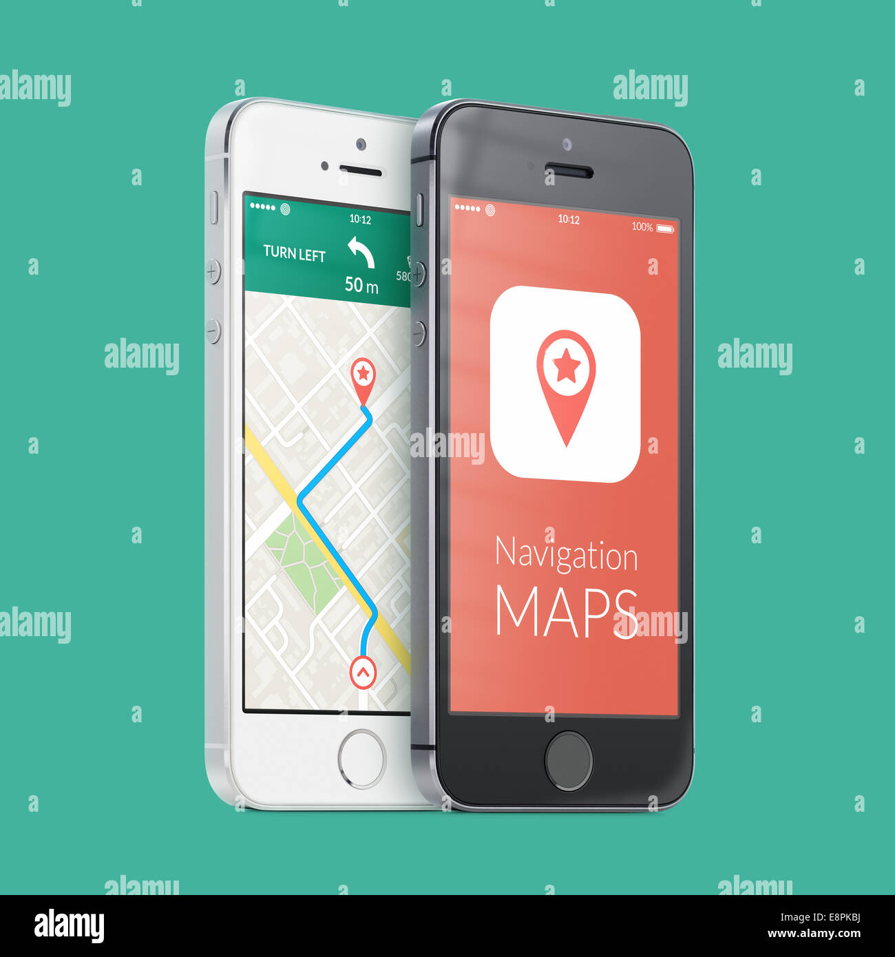 Black and white smartphones with map gps navigation application with planned route on the screen on green. High Stock Photo