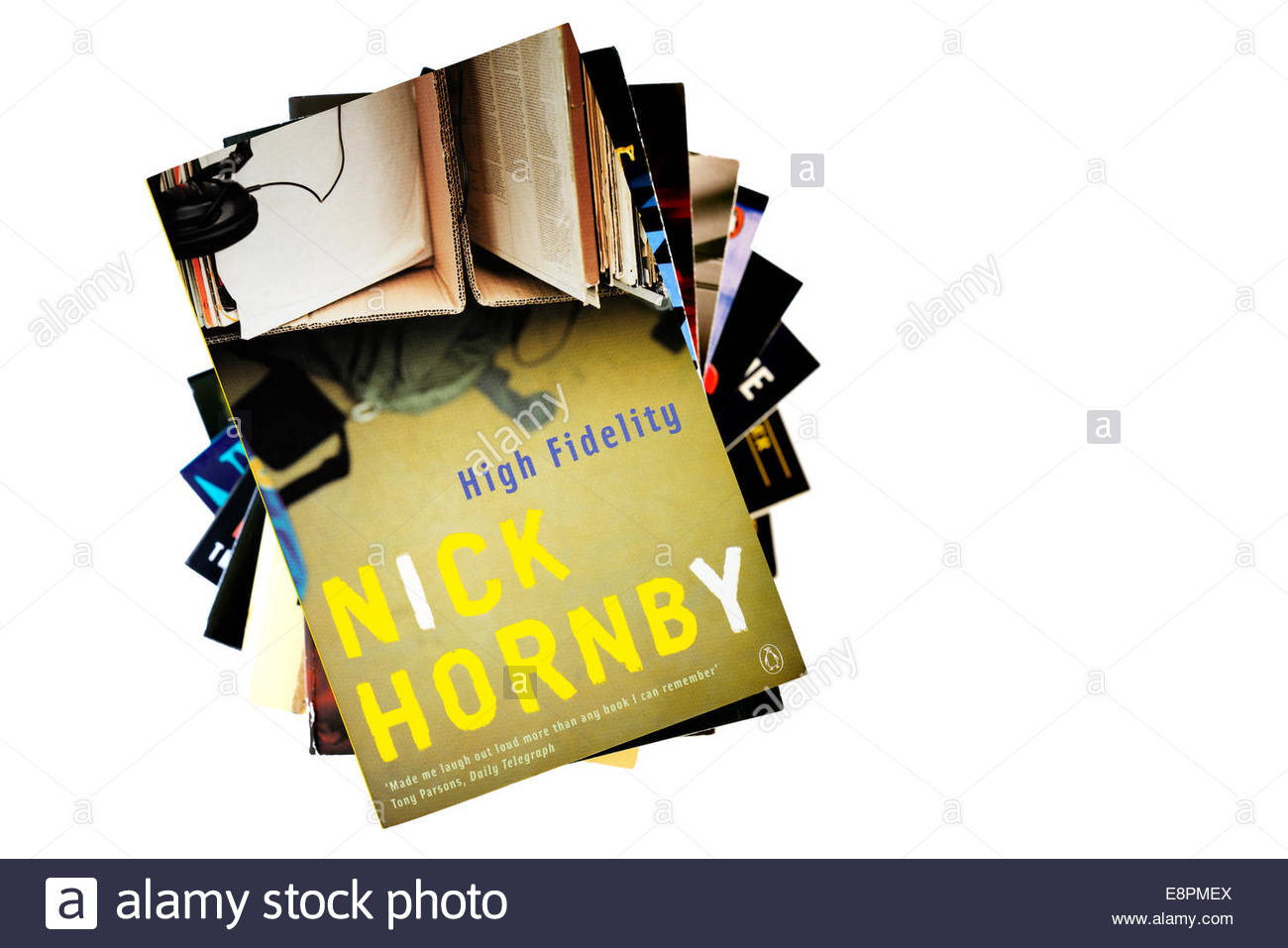 Nick Hornby debut novel High Fidelity, stacked used books, England - Stock Image