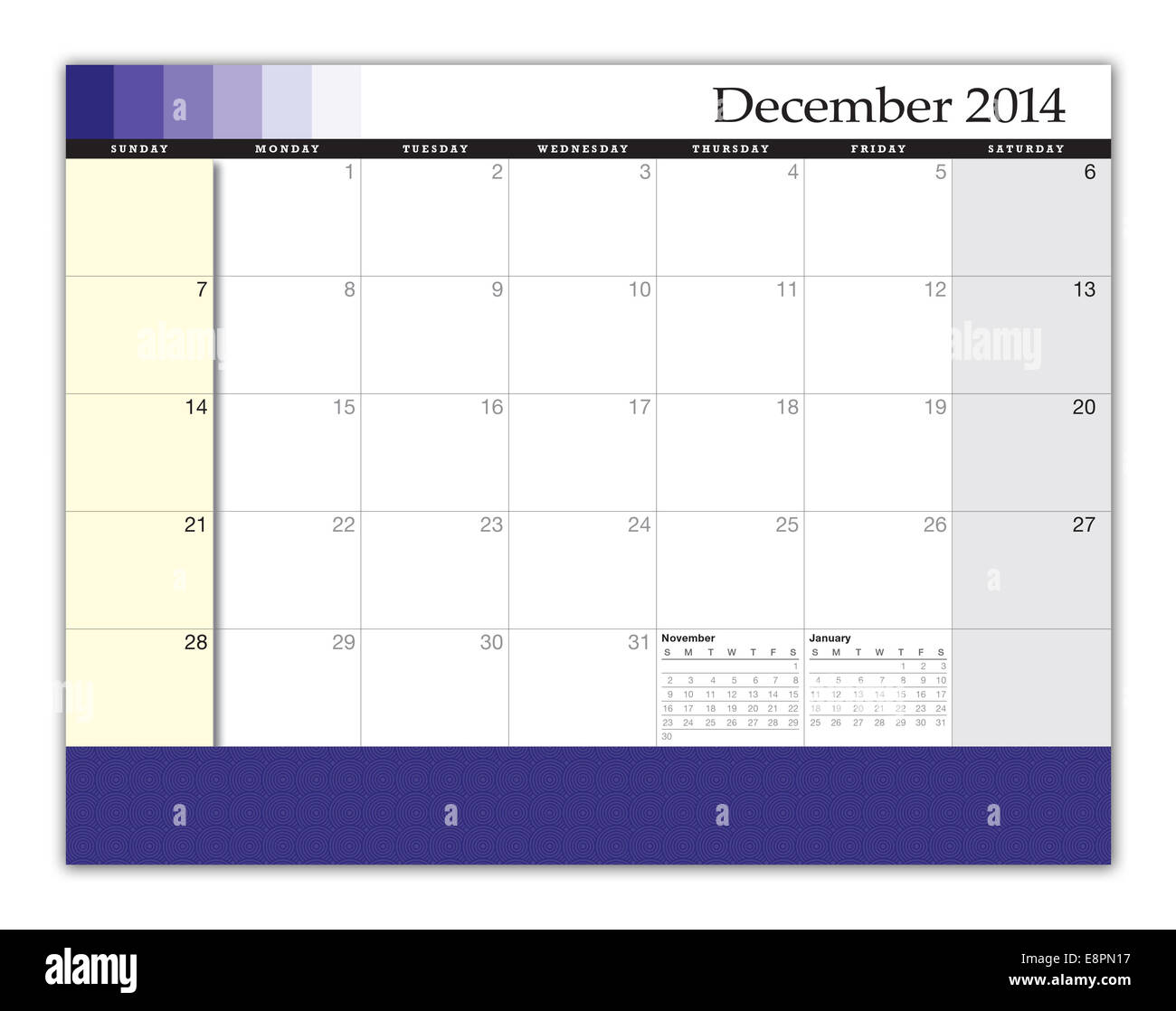 3D rendering of a December 2014 Calendar. Design and texture was created by the artist for this image. - Stock Image