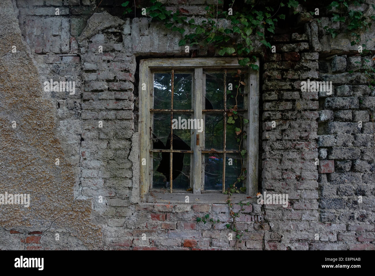Window in a derelict brick wall of an old house - Stock Image