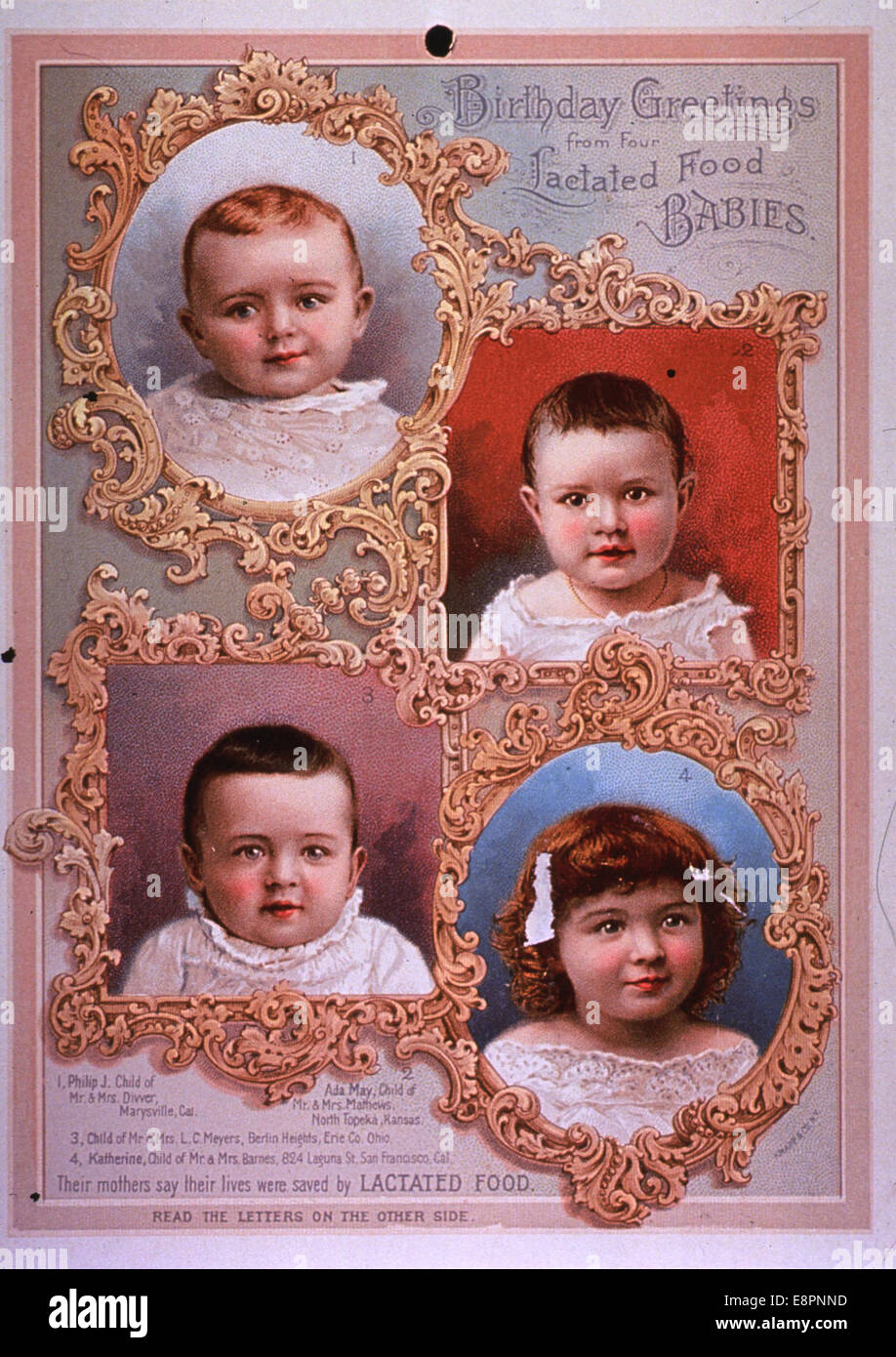 Birthday Greetings from Four Lactated Food Babies - Stock Image