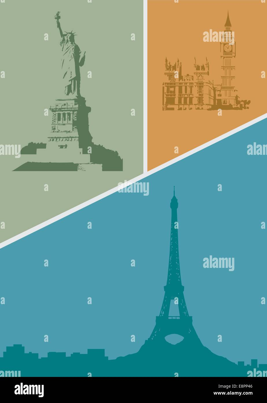 Illustration with contours of various cities of the world. - Stock Image