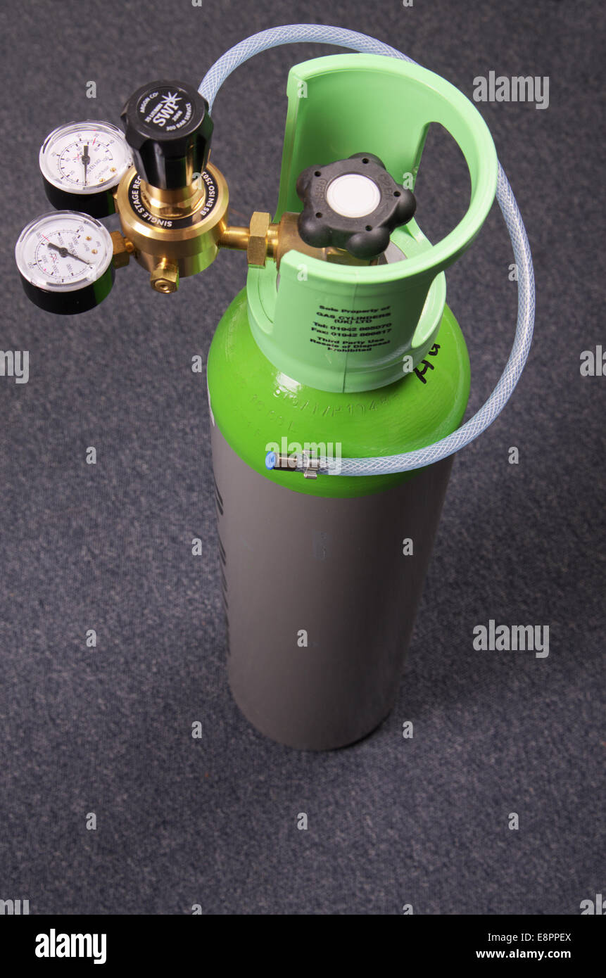 Small Ten Litre Size Argon CO2 Mix Gas Bottle With Regulator For MIG Welding - Stock Image