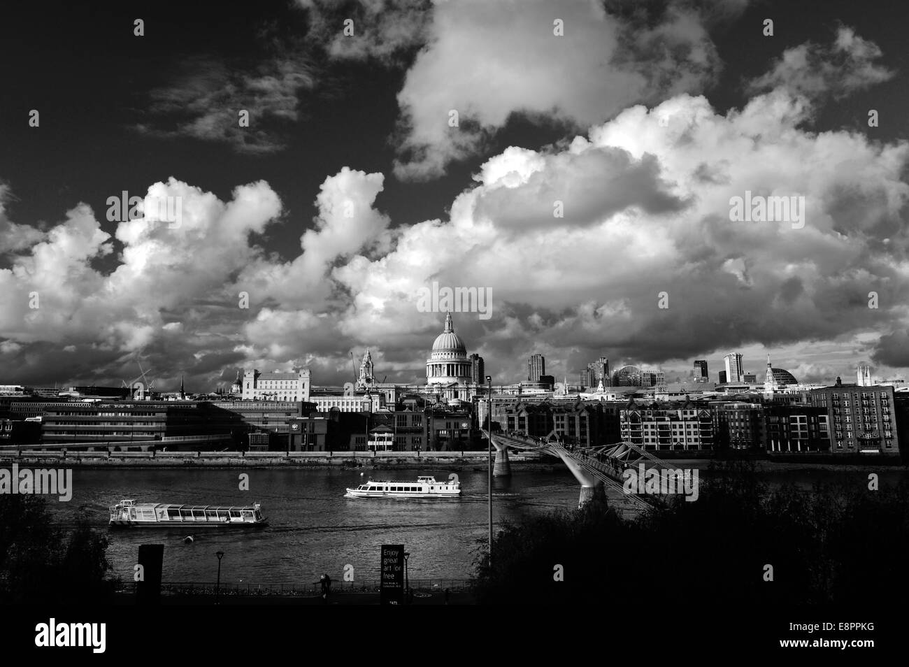 St Paul's Cathedral and Millennium Bridge, London - Stock Image