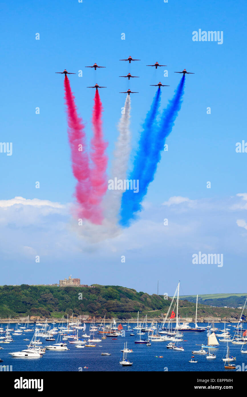 The Red Arrows over Pendennis Castle in Cornwall captured in late May 2014 - Stock Image