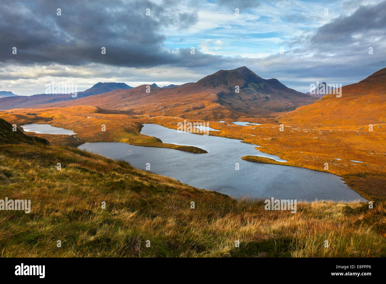 The view Knockan Crag in Wester Ross, toward Stack Polly - Stock Image