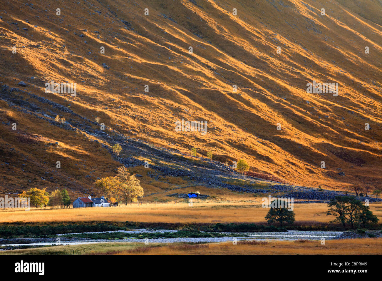 An isolated farmstead in Glen Etive, Scotland - Stock Image