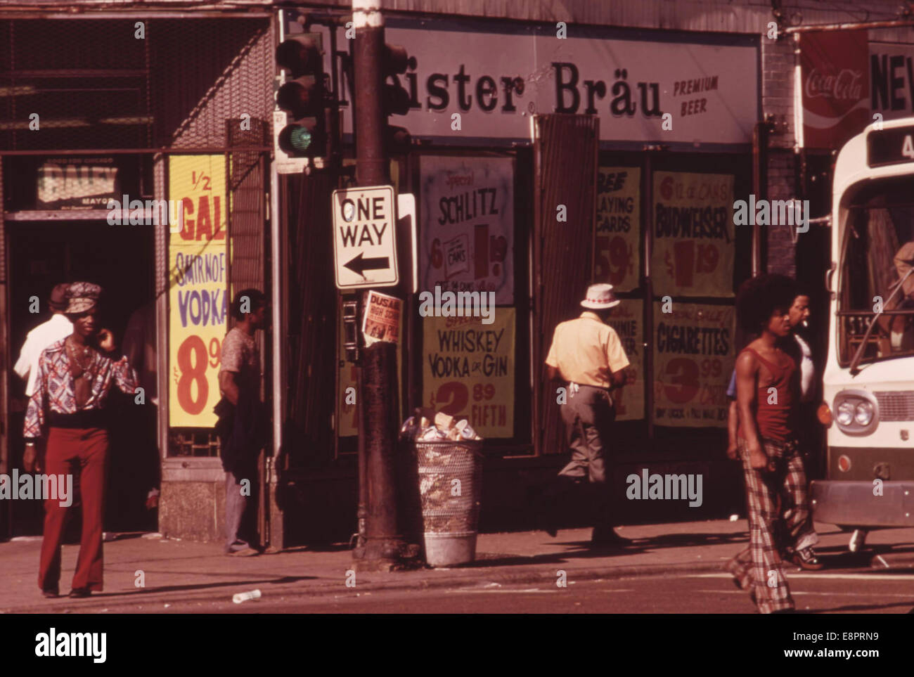 Street Scene On 47th Street In South Side Chicago A Busy Area Where Many Small Black Businesses Are Located 06/1973 - Stock Image