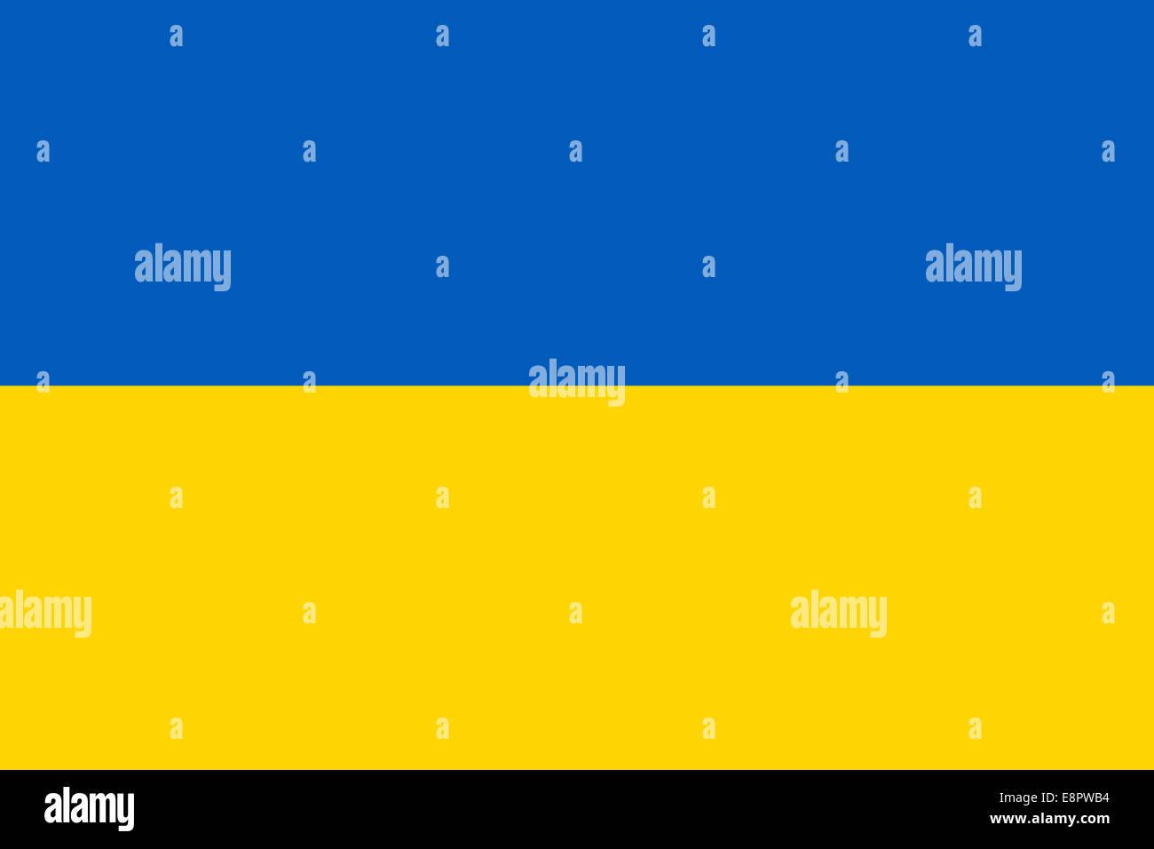 Flag of Ukraine - Ukrainian flag (true RGB and proportions) Stock Photo