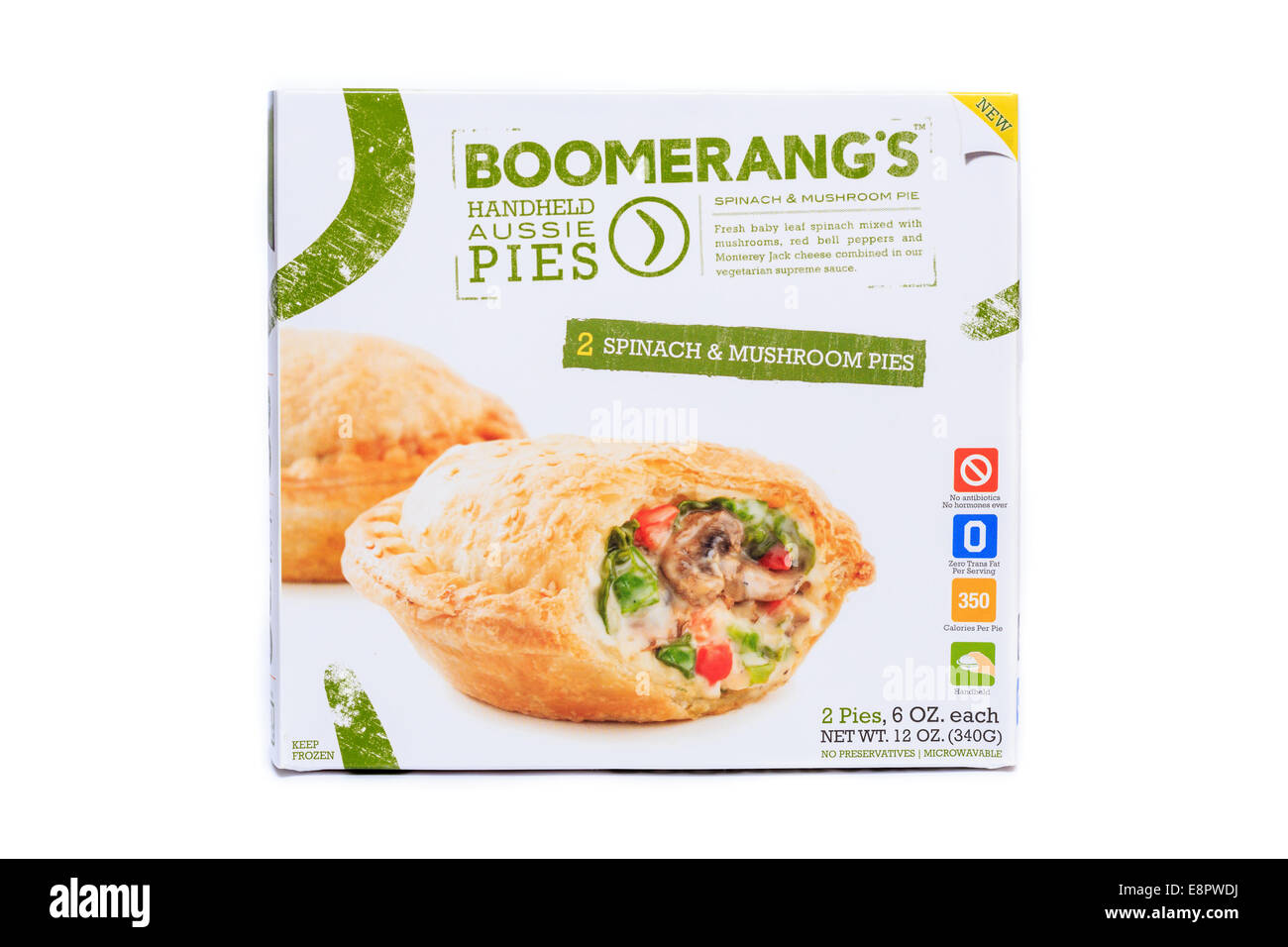 Boomerang's Frozen Prepared Spinach & Mushroom Handheld Aussie Pies - Stock Image
