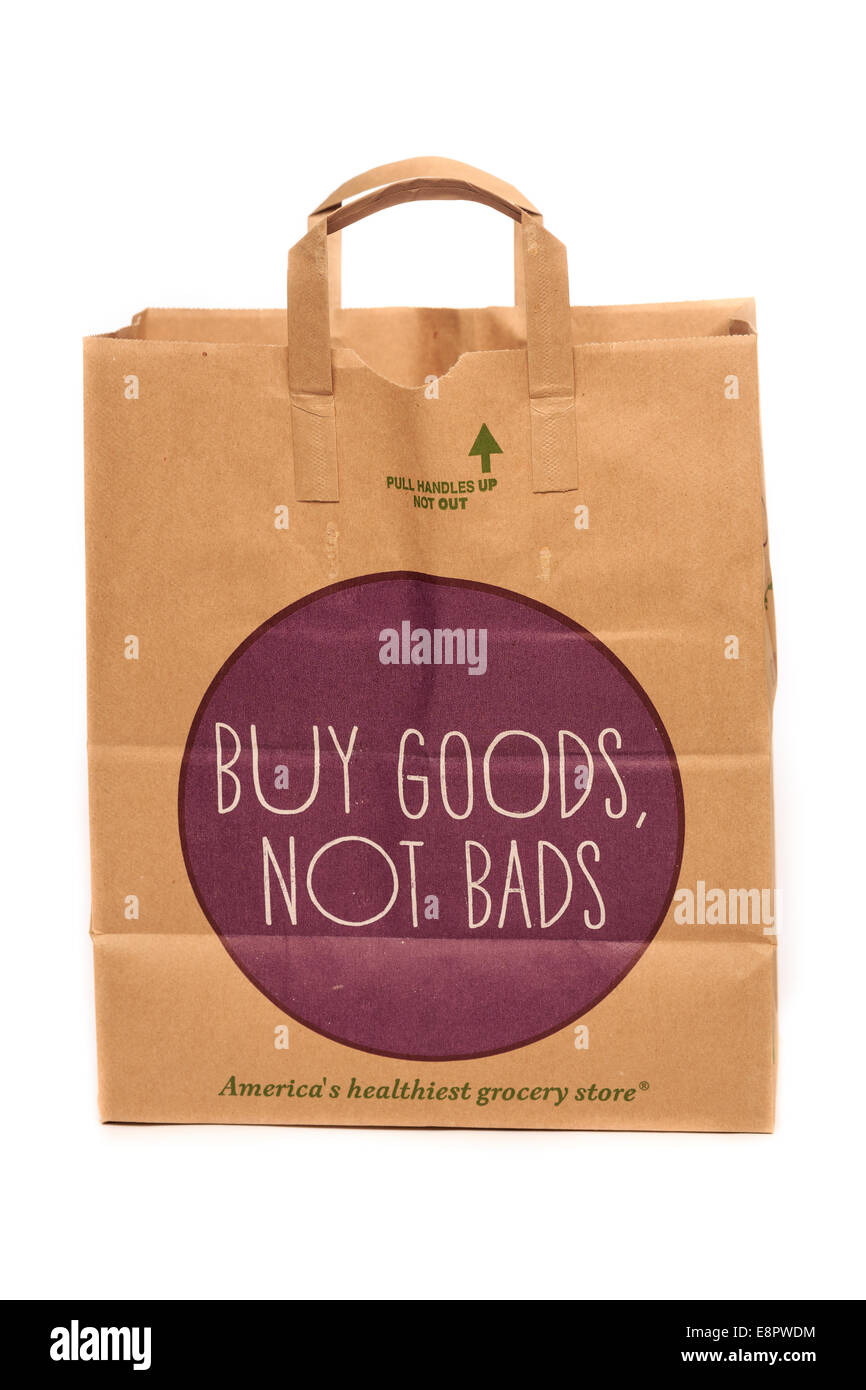 Whole Foods Market Paper Recyclable Grocery Bag - Stock Image