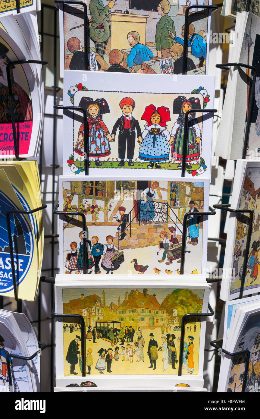 Postcard rack in Strasbourg, France, Europe - with Alsace themed postcards Stock Photo