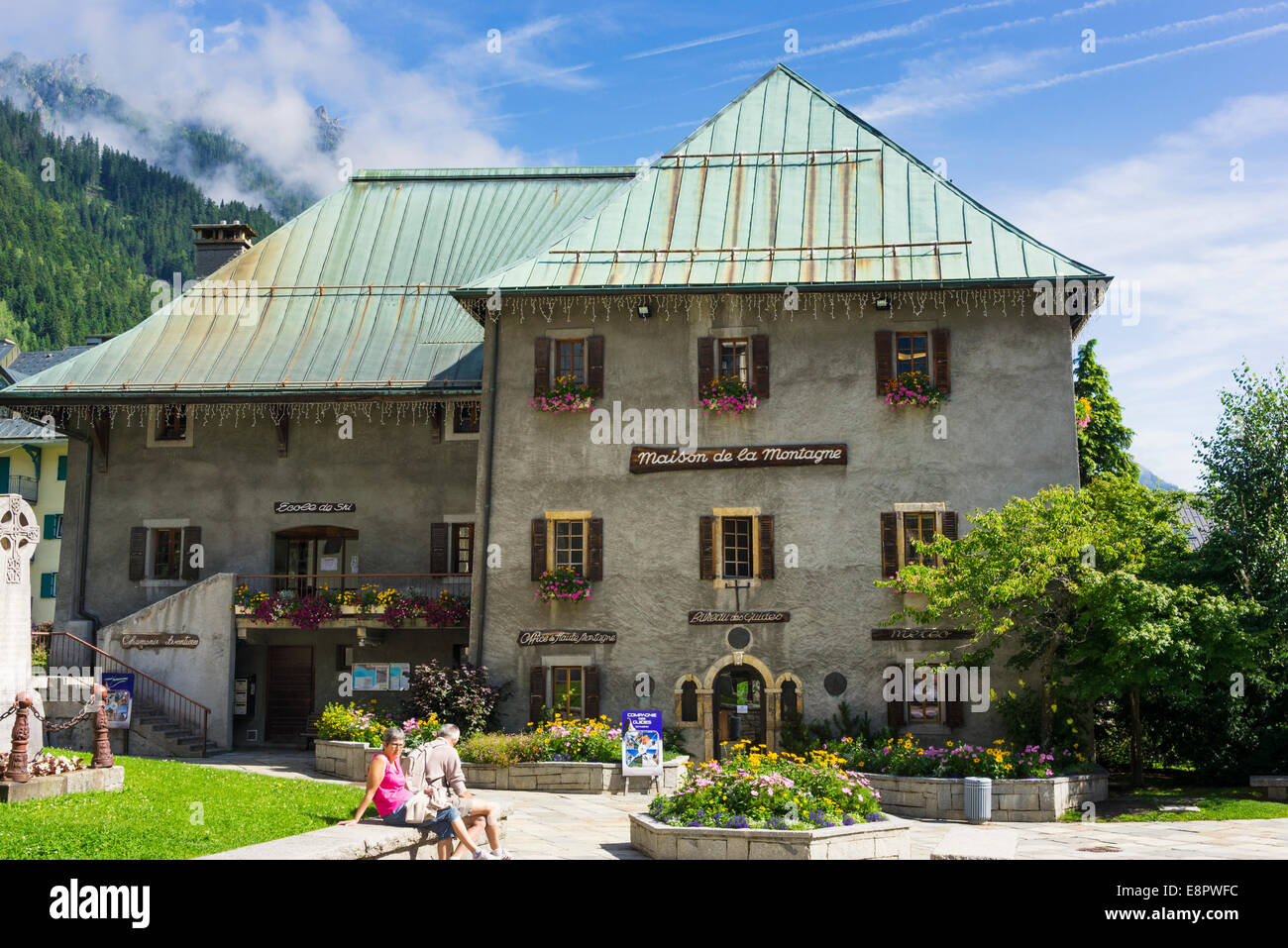 Maison de la Montagne the HQ of the Mountain Guides Guild in Chamonix, French Alps, France, Europe - Stock Image