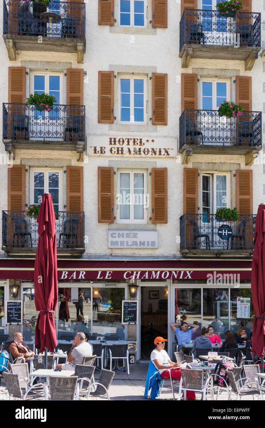 Bar cafe hotel in Chamonix town, French Alps, France, Europe - Stock Image