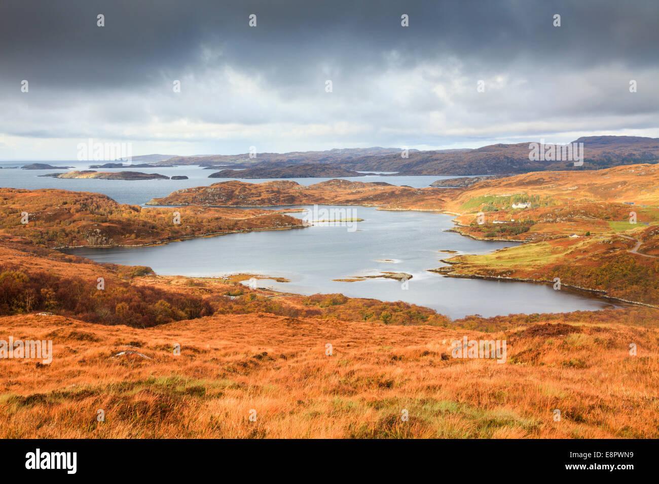 Loch Ardbhair near Drumbeg in Assynt, Scotland - Stock Image