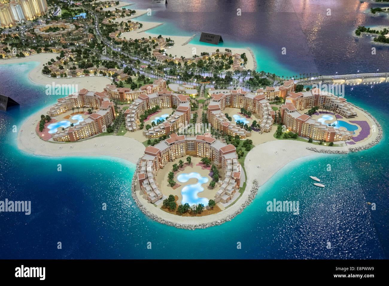 Model of new luxury residential property developments at The Pearl-Qatar in Doha at property trade fair in Dubai Stock Photo