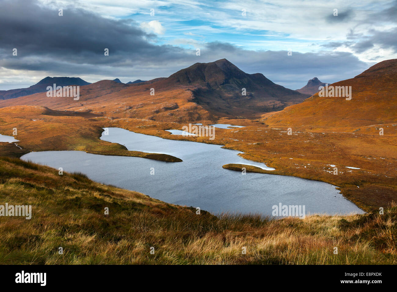 Stac Pollaidh captured from Knockan Crag in the Scottish Highlands. - Stock Image
