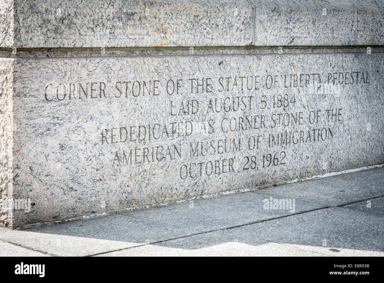 The Corner Stone of the Statue of Liberty Pedestal, laid August 5th 1884 - Liberty Island, New York - USA. - Stock Image