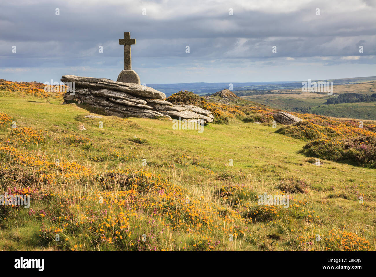 Yar Tor Cross in the Dartmoor National Park - Stock Image